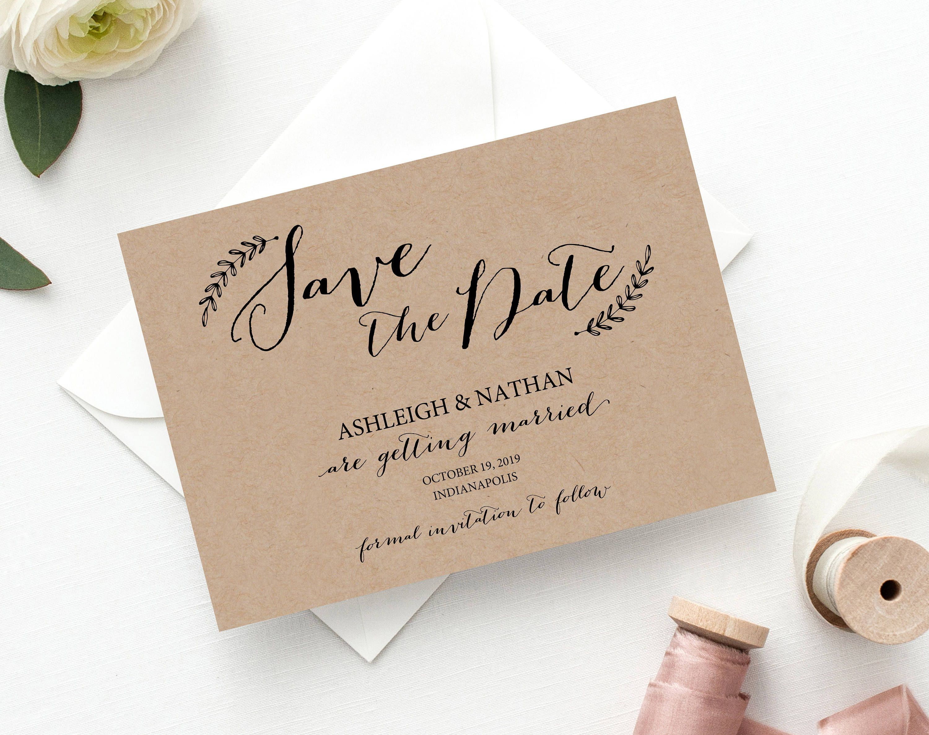 rustic save the date  kraft save the date  save the date