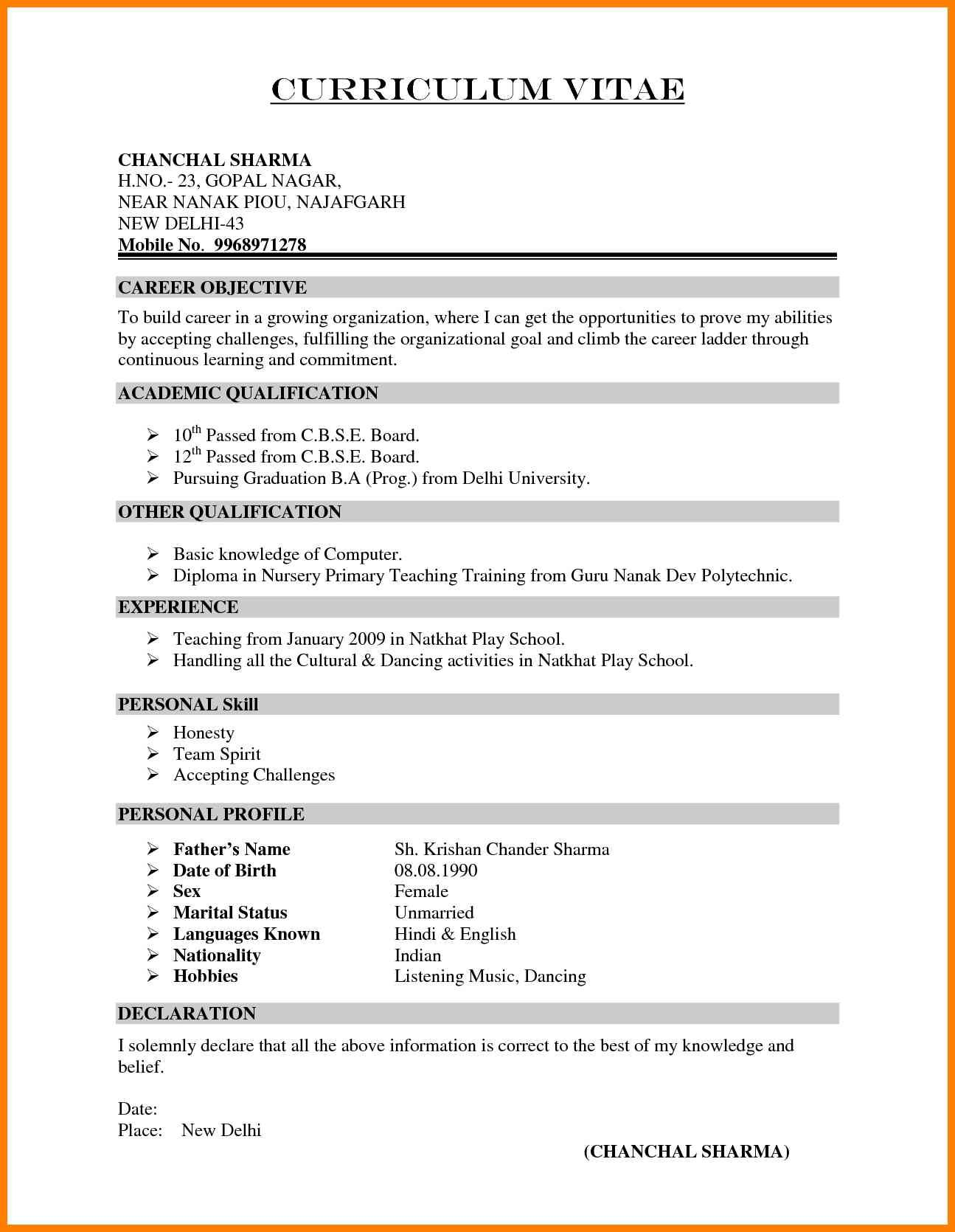 7 School Teacher Resume Format New Looks Wellness In Indian In