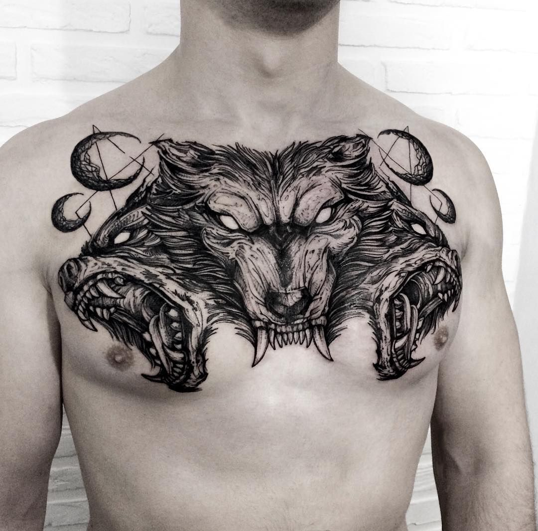 Super Mad Chest Piece Chest Piece Tattoos Chest Tattoo Wolf Tattoos