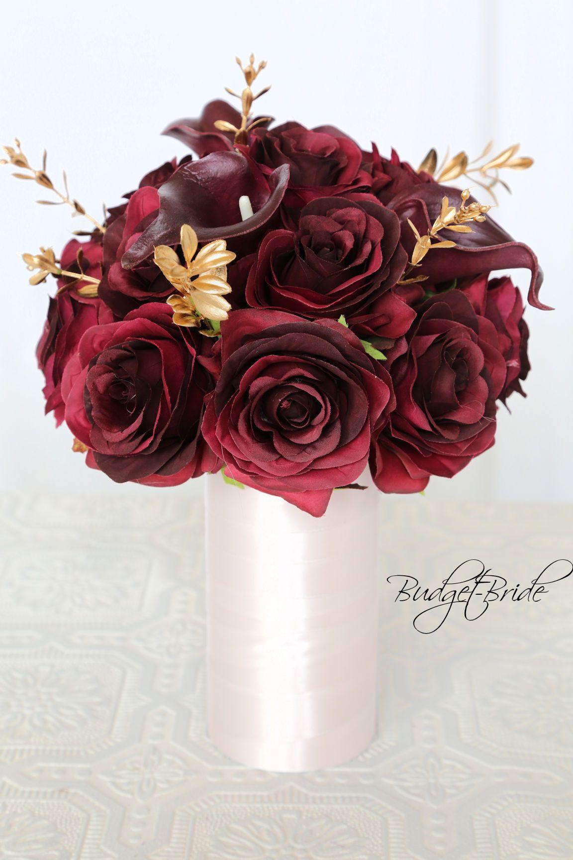 Burgundy Wine And Gold Davids Bridal Wedding Flowers Red Wedding Flowers Fabric Bouquet Wedding Bridal Wedding Flowers