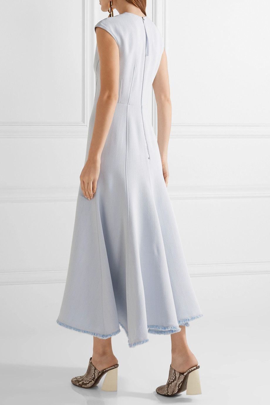 Crowther Frayed Crepe Maxi Dress - Light blue Gabriela Hearst sdwjQSTE