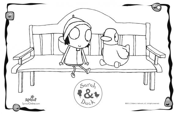 Sarah & Duck on a Bench | coloring pages | Pinterest | Sarah duck ...