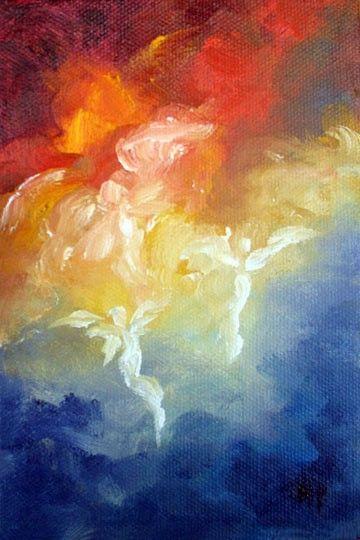 Angel Art Print Greeting Card Angels Descent by MarinaPetroFineArt,