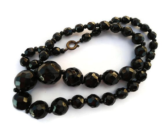 Vintage Black faceted glass necklace Mourning jewelry