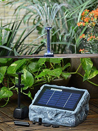 Solar Fountain Pump Garden Fountain With Battery Led Light