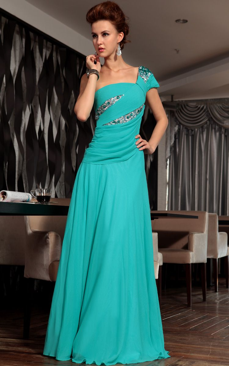 Fashion Blue One Shoulder Sequins Banquet Formal Dress Long Evening ...
