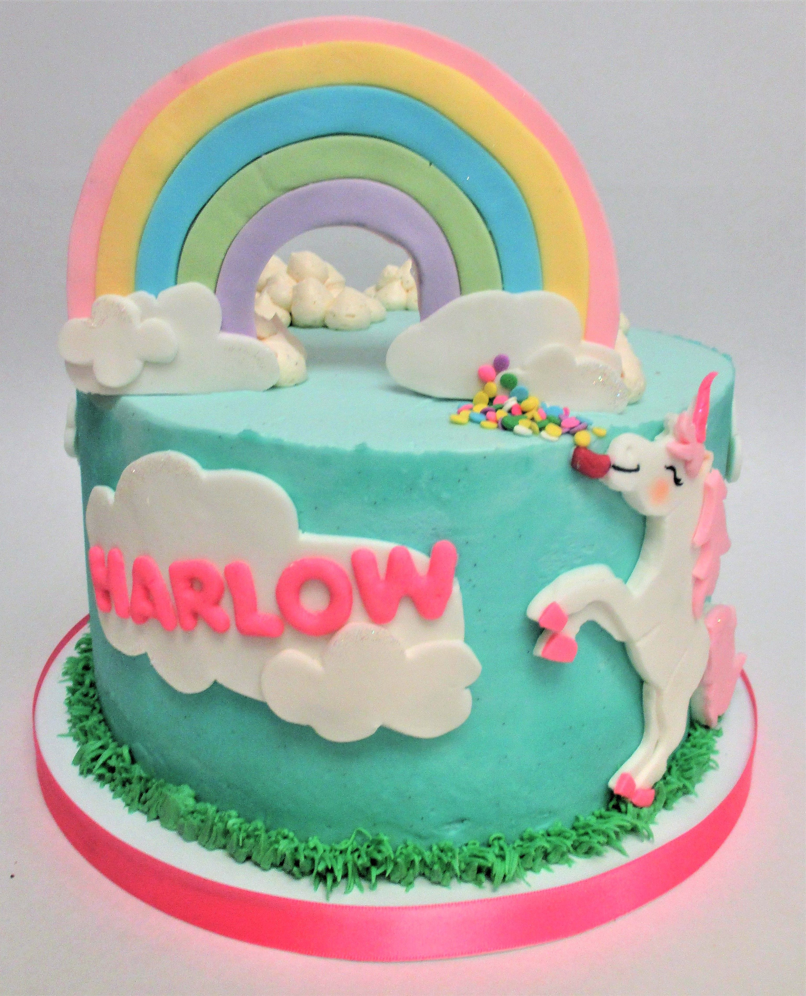 Rainbow Unicorn Kids Birthday Cake by Flavor Cupcakery Cake Design