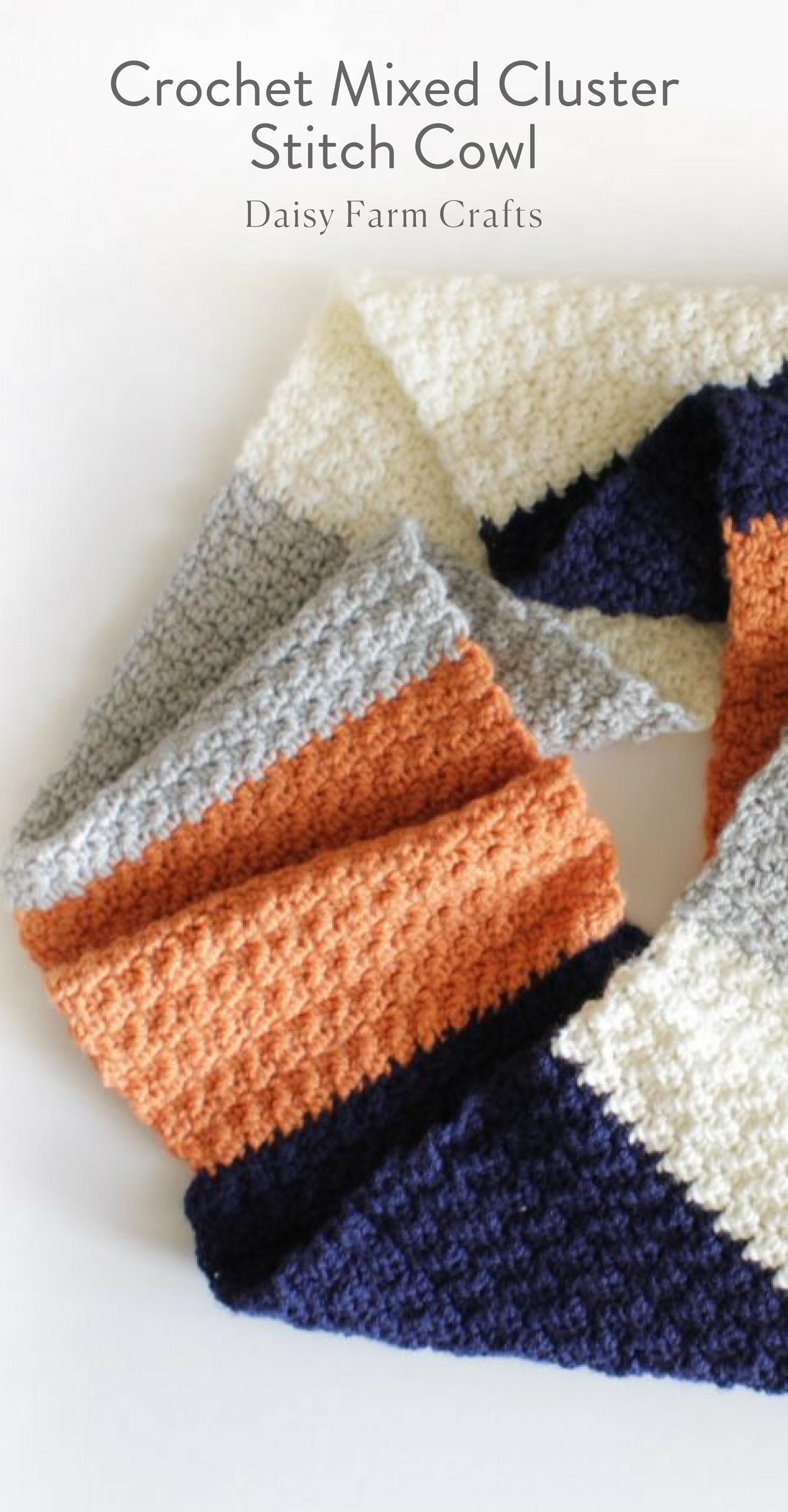 Free Pattern - Crochet Mixed Cluster Stitch Cowl   Crochet ...