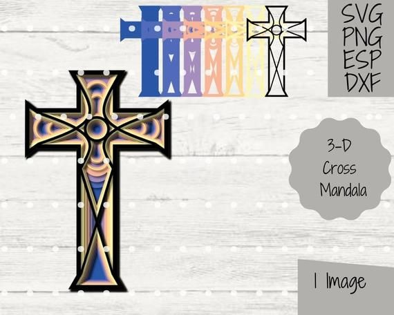 Layered Cross 3D Mandala SVG File for Cricut & Silhouette Paper Cutting Craft Project Religious Christian Clipart Easter PNG Image Art