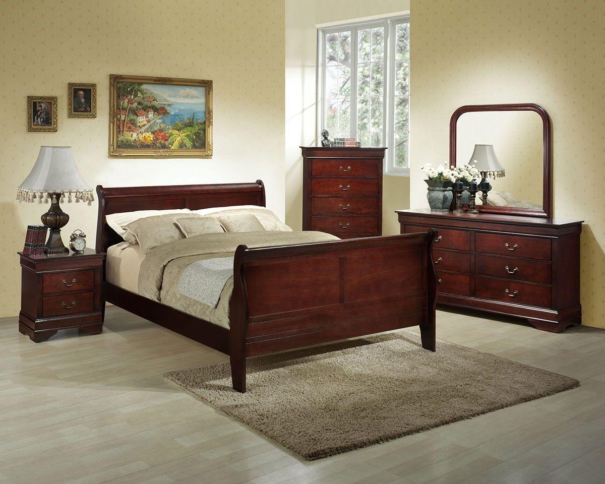 Lifestyle B5933 Queen Cherry Louis Philippe Bedroom Set Bedroom