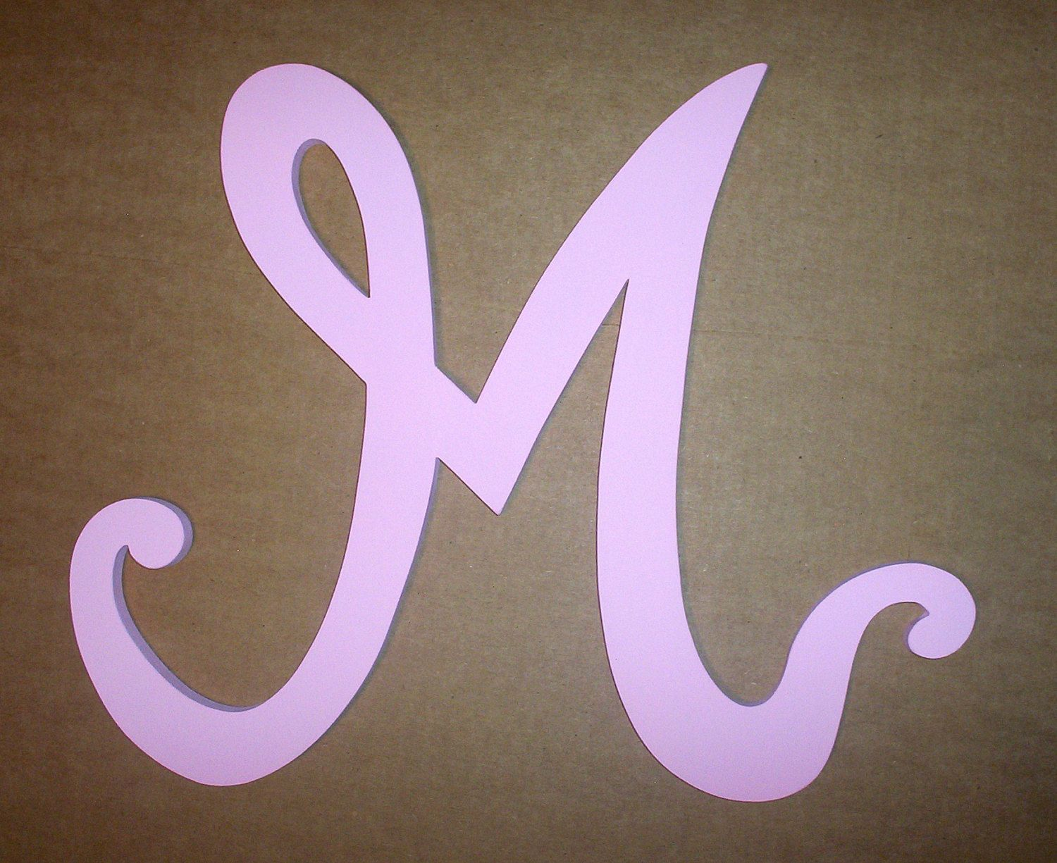 Handmade Wooden M Letter Feminine Font Wall Decor Decorative Girls Room Modern Painted In Baby Pink Wood Initial Nursery Home Decor By Lettersofwood On Etsy