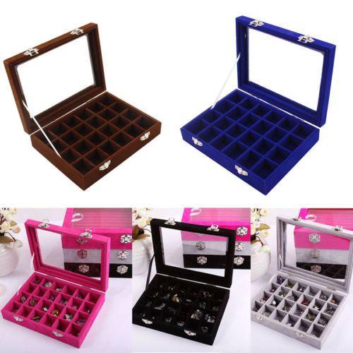 Velvet Glass Jewelry Organizer Box Earring Tray Display Holder Storage Case Jewelry Organizer Box Purpose Jewelry Jewelry Display Organizer