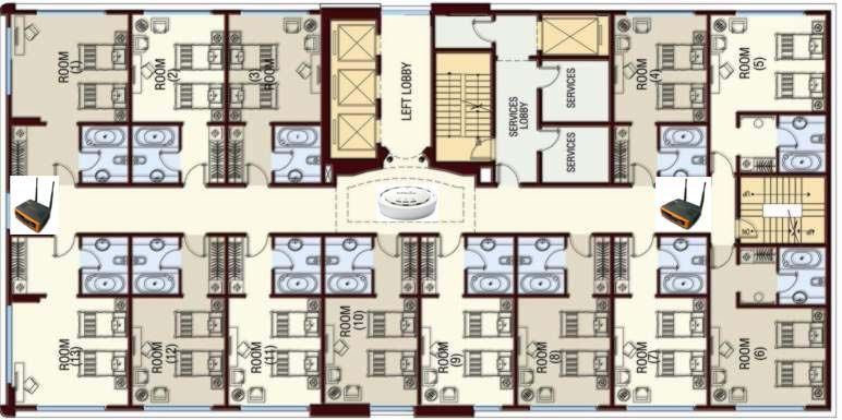Hotel room floor plans deploying wifi in the hospitality for Small design hotels