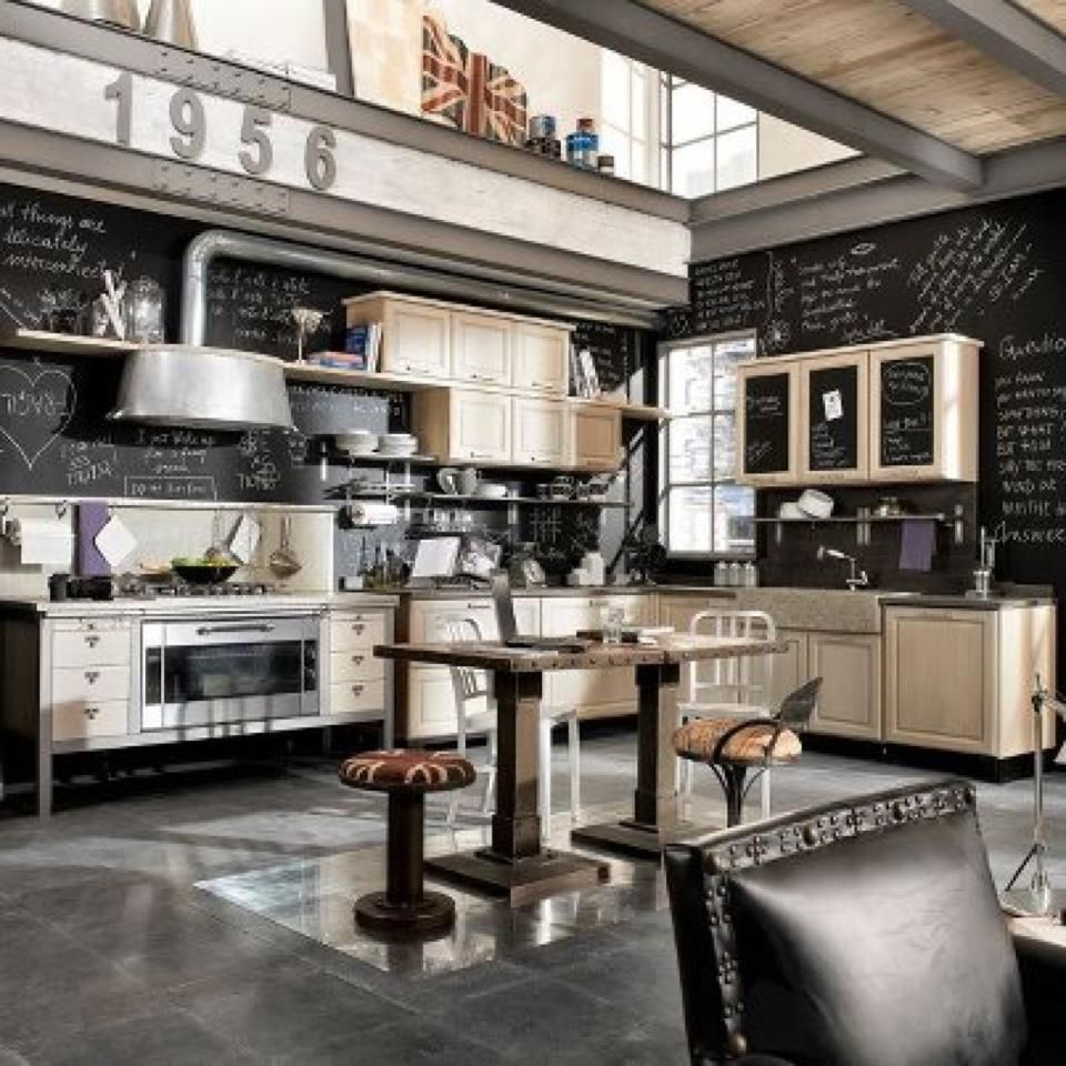 Vintage Industrial Grey Black Cream Kitchen Love This Light Wood Cabinets Black Industrial Decor Kitchen Industrial Style Kitchen Industrial Kitchen Design