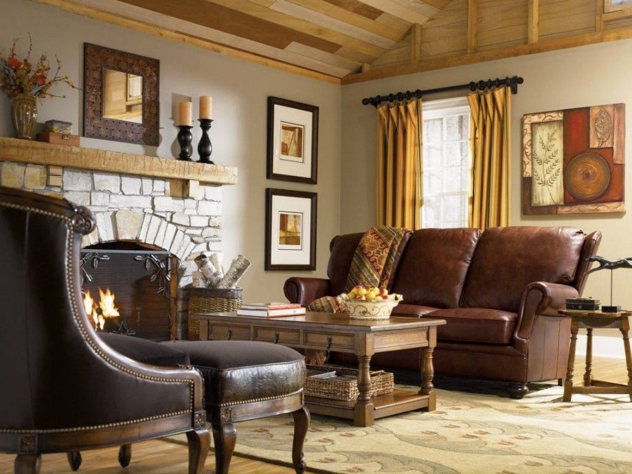 Leather Sofa In Country Style Living Room Interior Design Ideas - Country Living Room Furniture Ideas