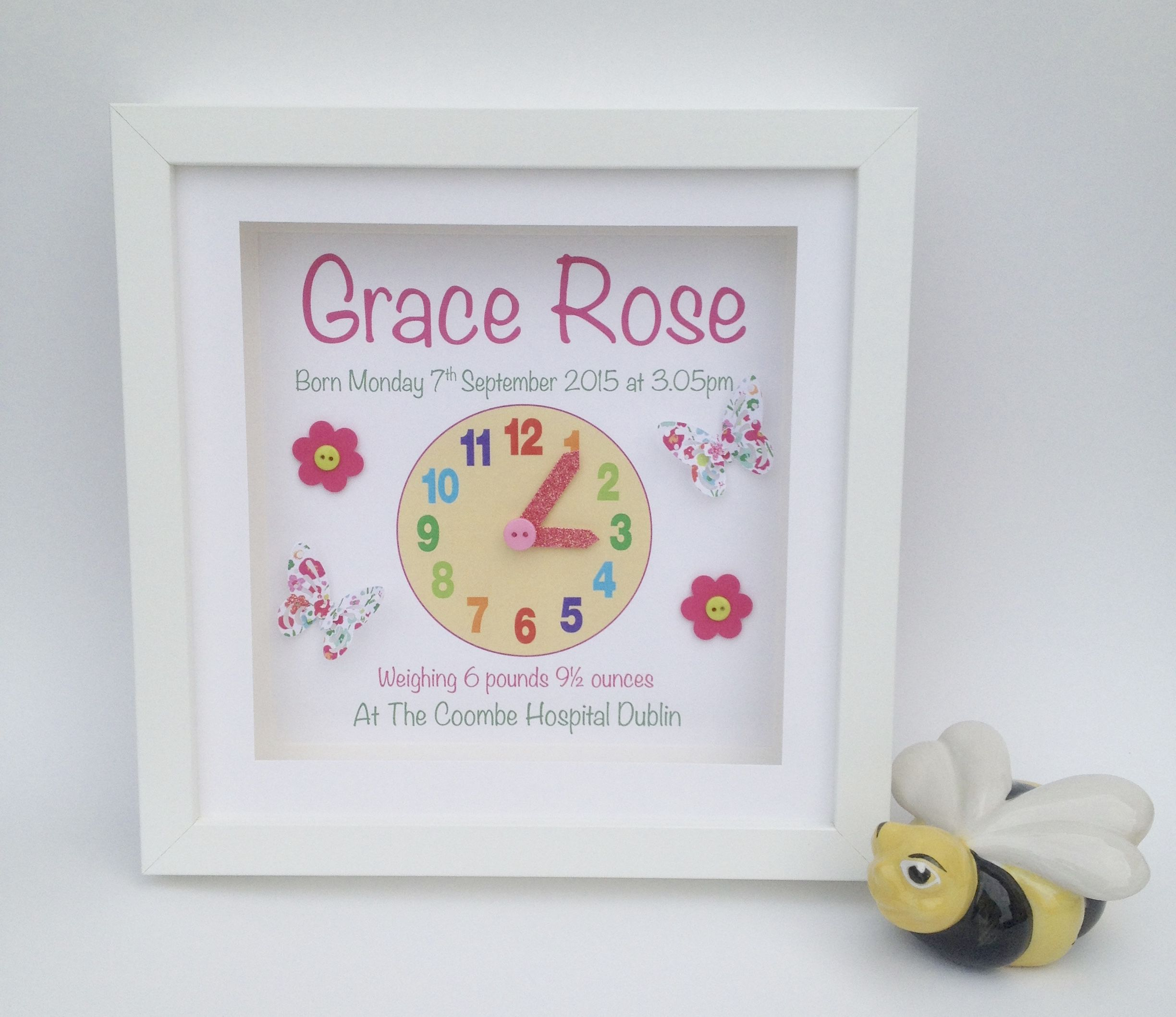 The top selling original as cute as a button personalised printed personalised baby girl clock frame in a white frame including name date of birth weighttime and also the hospital he or she was born in negle Image collections