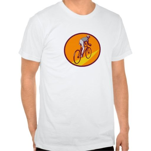 Cyclist Riding Bicycle Cycling Oval Woodcut Tee Shirt. Illustration of cyclist wearing helmet riding racing bicycle cycling biking viewed from rear set inside oval shape on isolated background done in retro woodcut style. #Illustration #CyclistRidingBicycle