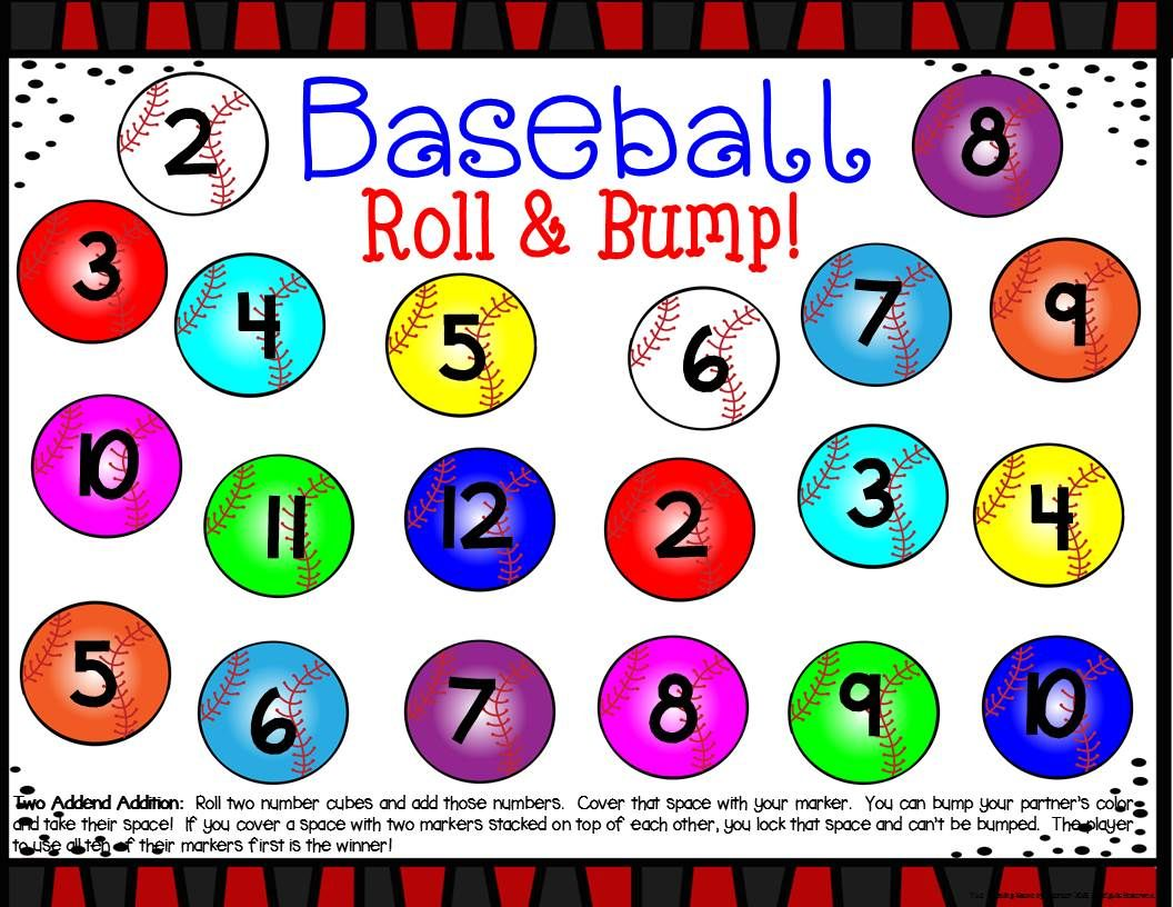 Baseball Math Center Dice Games
