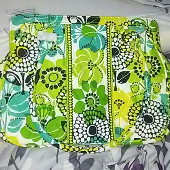 New wit tags vera Bradley bag in limes up pattern Very cute satchel bag great for summet nice grern and yellow and turquoise and black colors has inside zip picket very roomy has snap closure Vera Bradley Bags Shoulder Bags