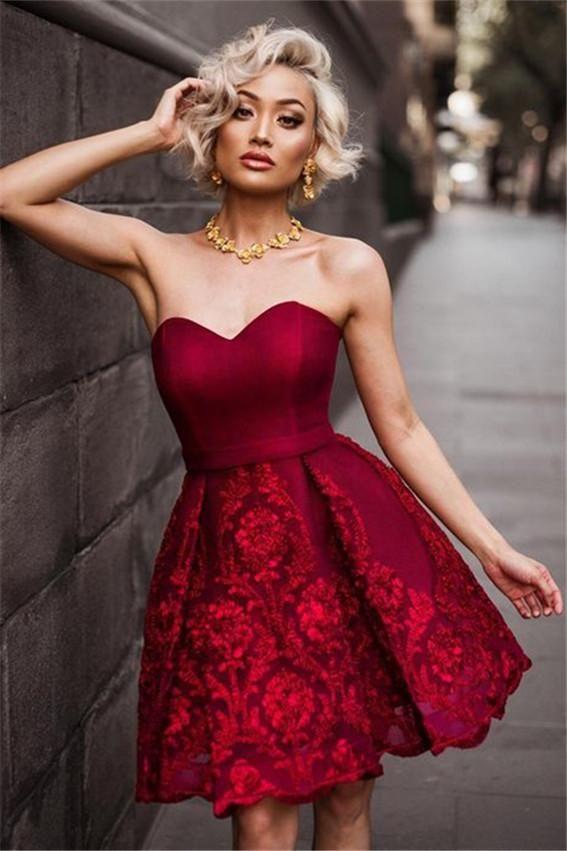 Vestidos de grado rojos cortos