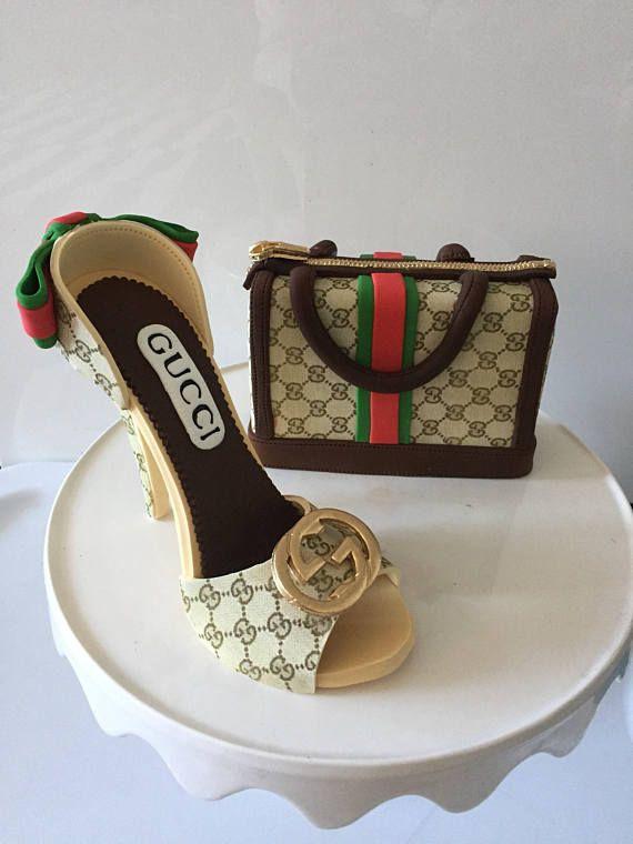 dfda4426d982 Sugar gumpaste fondant GUCCI style purse and shoe cake toppers decorations