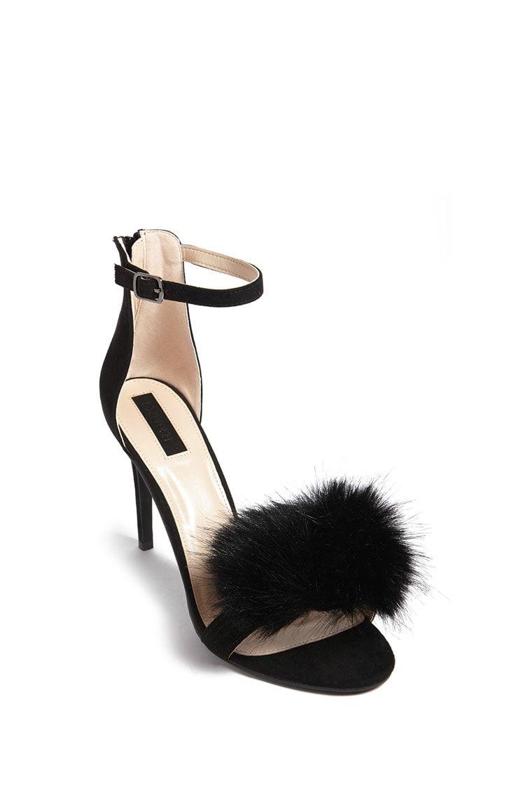 Forever 21 Faux Fur Ankle Strap Heels In Black Ankle Strap Heels Heels Ankle Strap