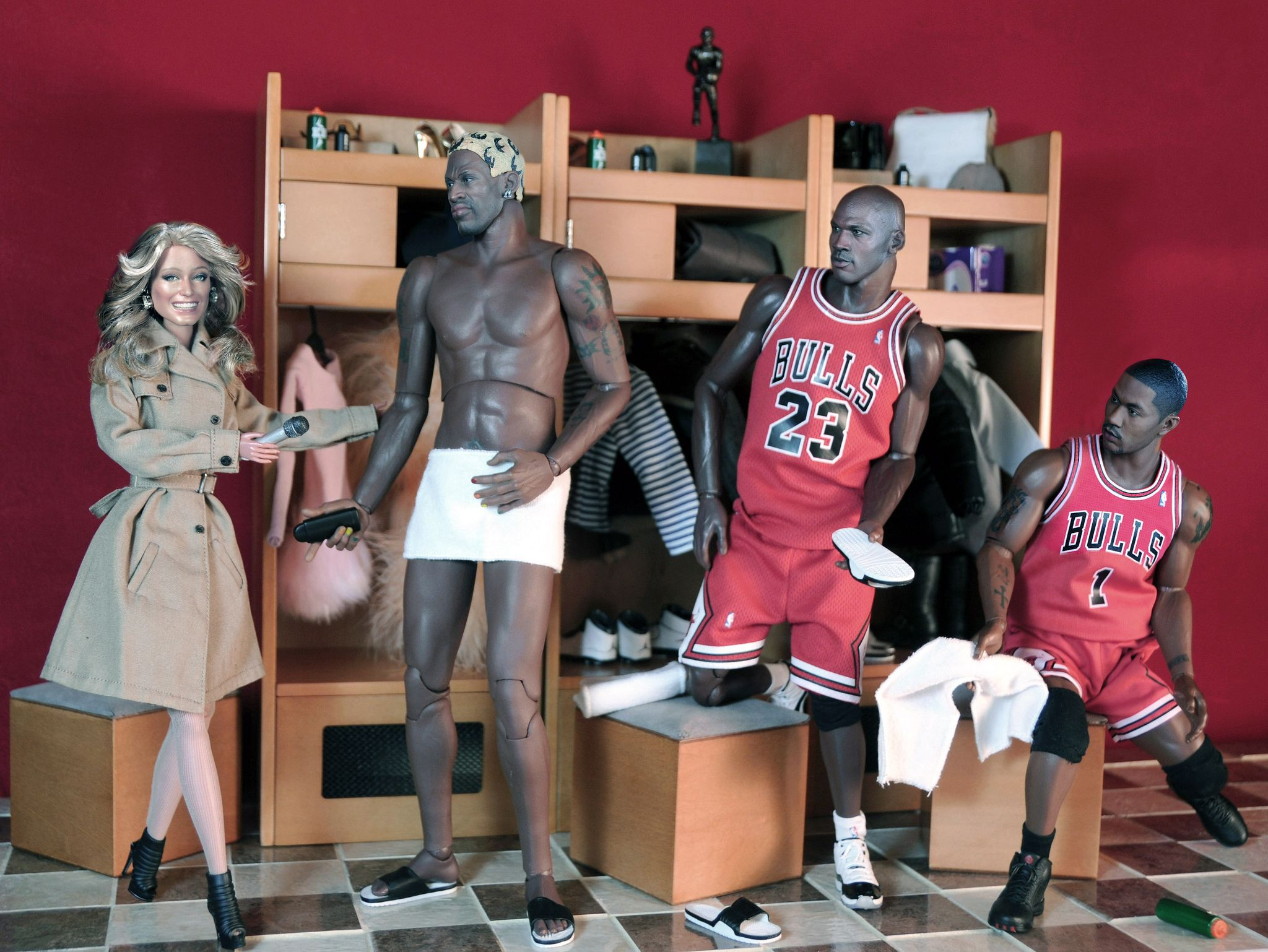 Chicago Bulls ANGEL | Reporting Live for ESPN Farrah Fawcett interviews NBA  stars Dennis Rodman, Michael Jordan & Derrick Rose of the Chicago Bulls.