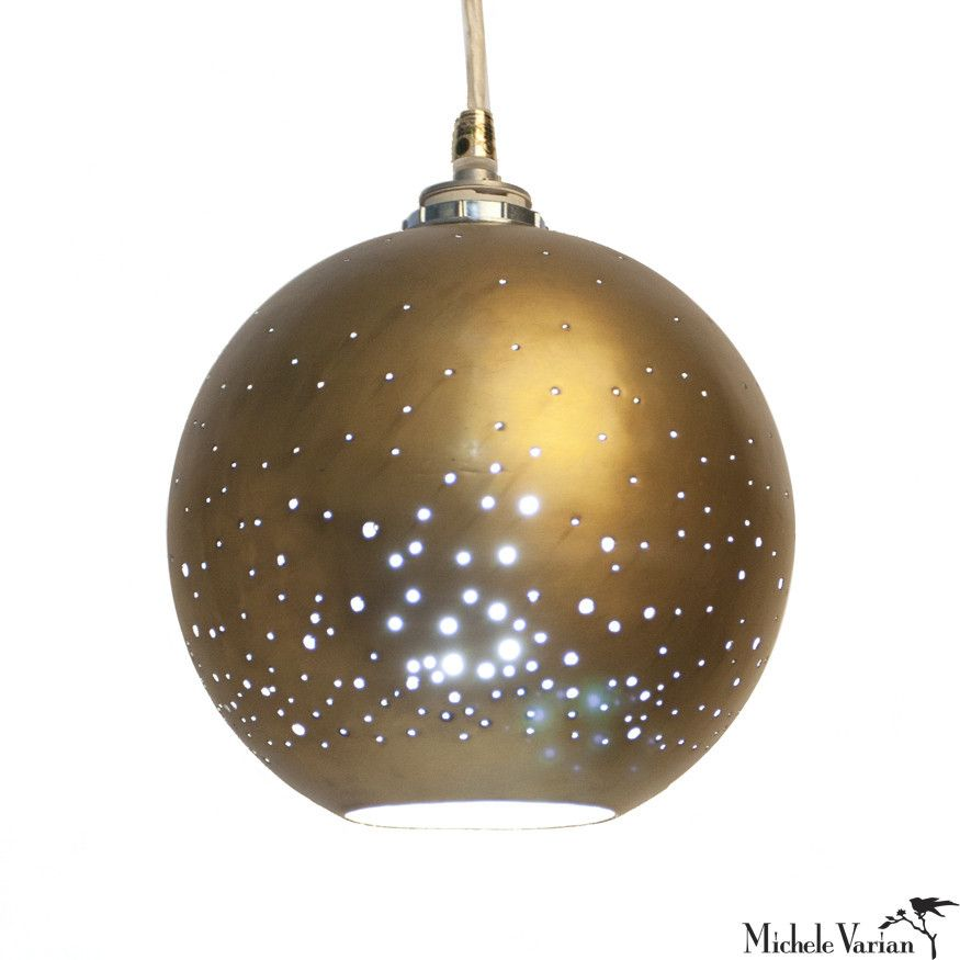 The Pierced Metal Globe Of This Pendant Lamp Allows Tiny Bits Light To Come Out Invoking A Starry Night One By Itself Is Beautiful