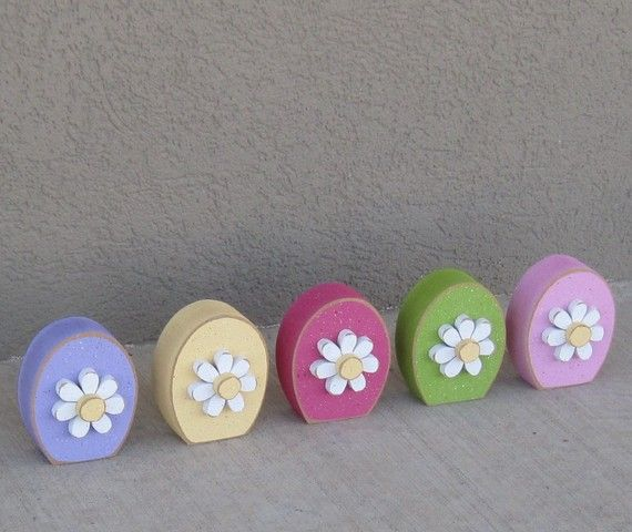 5 EGG SHAPED block set with DAISIES for Easter Spring by lisabees, $24.95