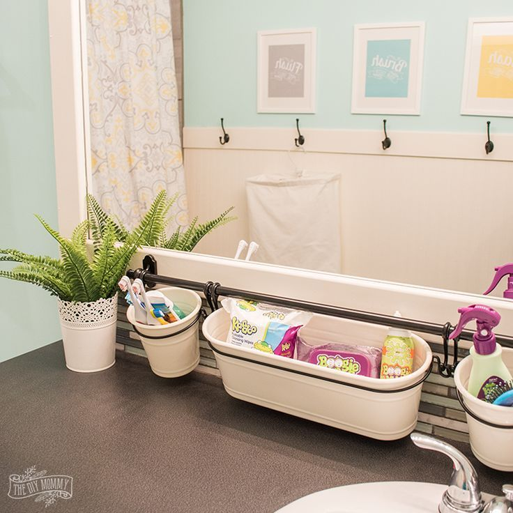 Kids Bathroom Organization Ideas + Free Printable Bathroom Art | The DIY Mommy