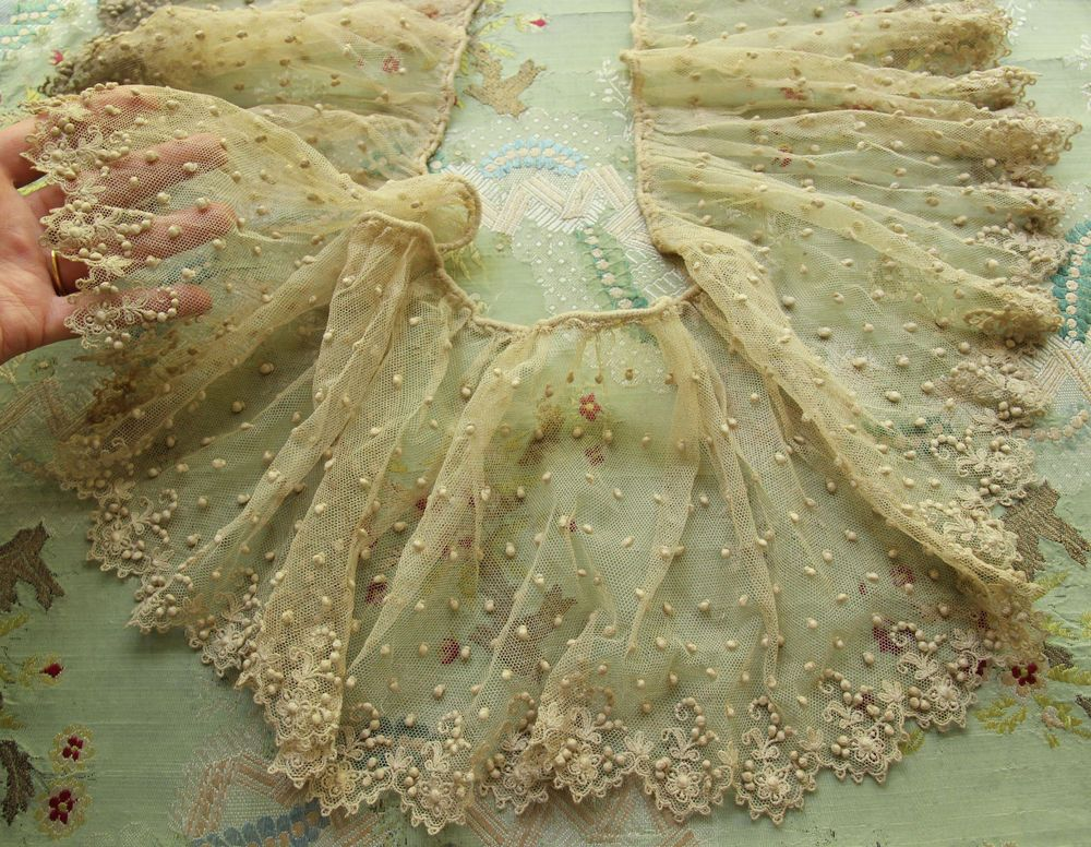 "ANTIQUE RARE COTTON BOBBLE TULLE LACE 56"" FRENCH DOLL DRESS ECRU INTRICATE BEAR"