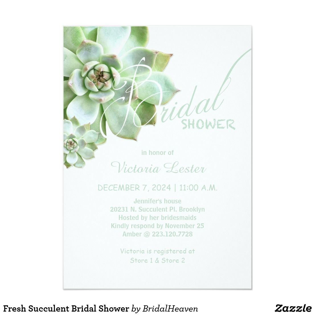 Fresh Succulent Bridal Shower Card | Bridal shower cards, Bridal ...