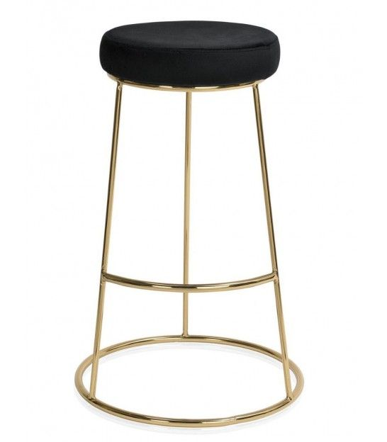 Tabouret De Bar Design En Metal Dore Et Assise En Velours Noir Tabouret De Bar Design Tabouret De Bar Bar Design
