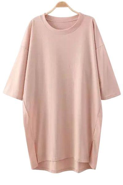 Solid Color Slit Half Sleeve Dress