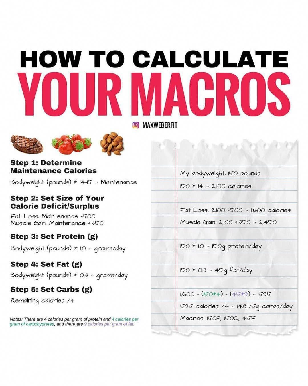 Learn how to calculate your macros for a weight loss and muscle.