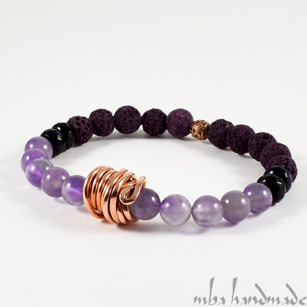 MEN'S AMETHYST PURPLE LAVA ROCK ONYX AUTHENTIC GEMSTONES BEADED BRACELET COPPER #MBAHandmade #Beaded