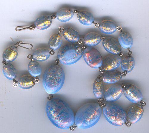 Art Deco Opaline Venetian Foil Glass Bead Necklace Glass Bead Necklace Glass Beads Fancy Beads