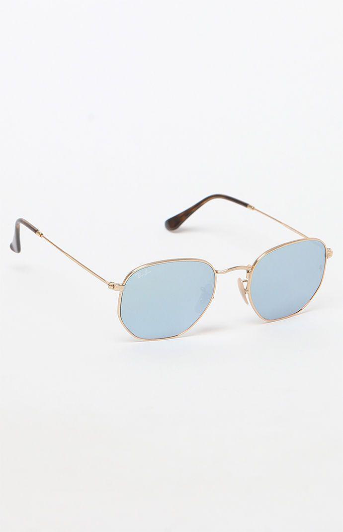 90ac9cb2fe Ray-Ban Hexagonal Flat Blue Lens Metal Sunglasses at PacSun.com ...