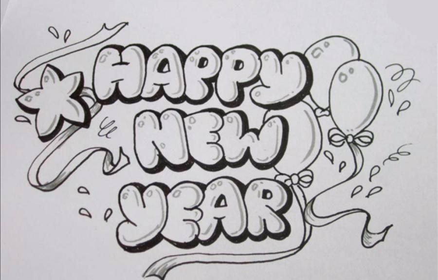 How To Draw The Word Happy New Year With A Pencil Step By Step Graffiti Lettering Bubble Letters Graffiti Style Art