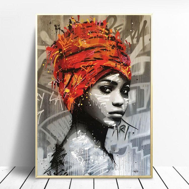 2020 的 afro africa wall art canvas painting black artwork