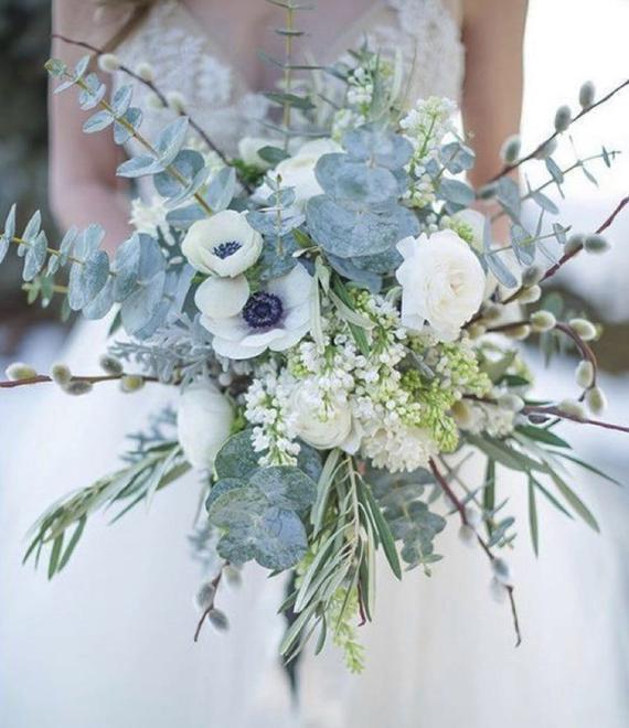 Anemone bridal bouquet, icy blue bouquet, greenery bouquet, spring bouquet, summer bouquet, brides bouquet, bridal bouquet with blue