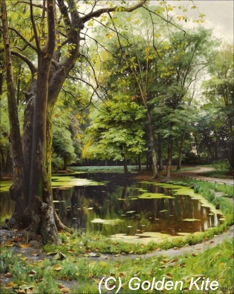 A Lake in a Park with Chestnut Trees