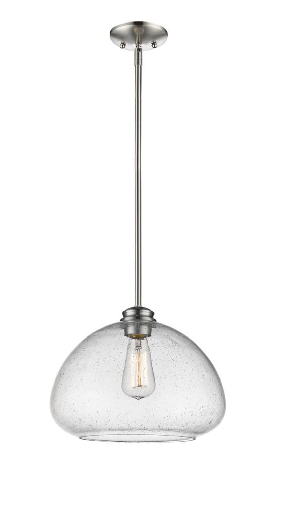 1 Light Brushed Nickel Pendant With Clear Seedy Glass Pendant