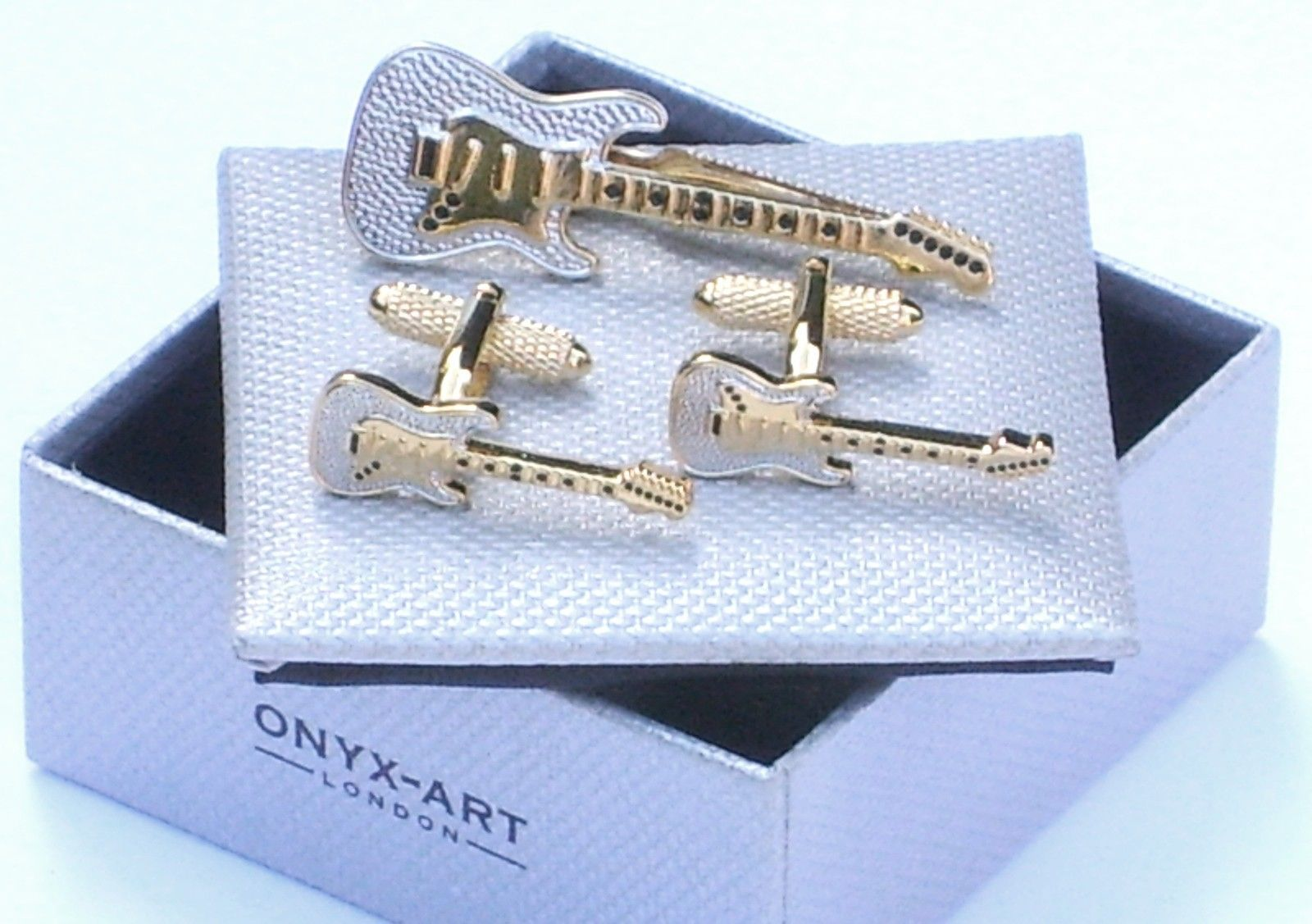 #Guitar cuff #links & matching tie bar set-metal gold & silver #style in gift box,  View more on the LINK: 	http://www.zeppy.io/product/gb/2/370592234171/