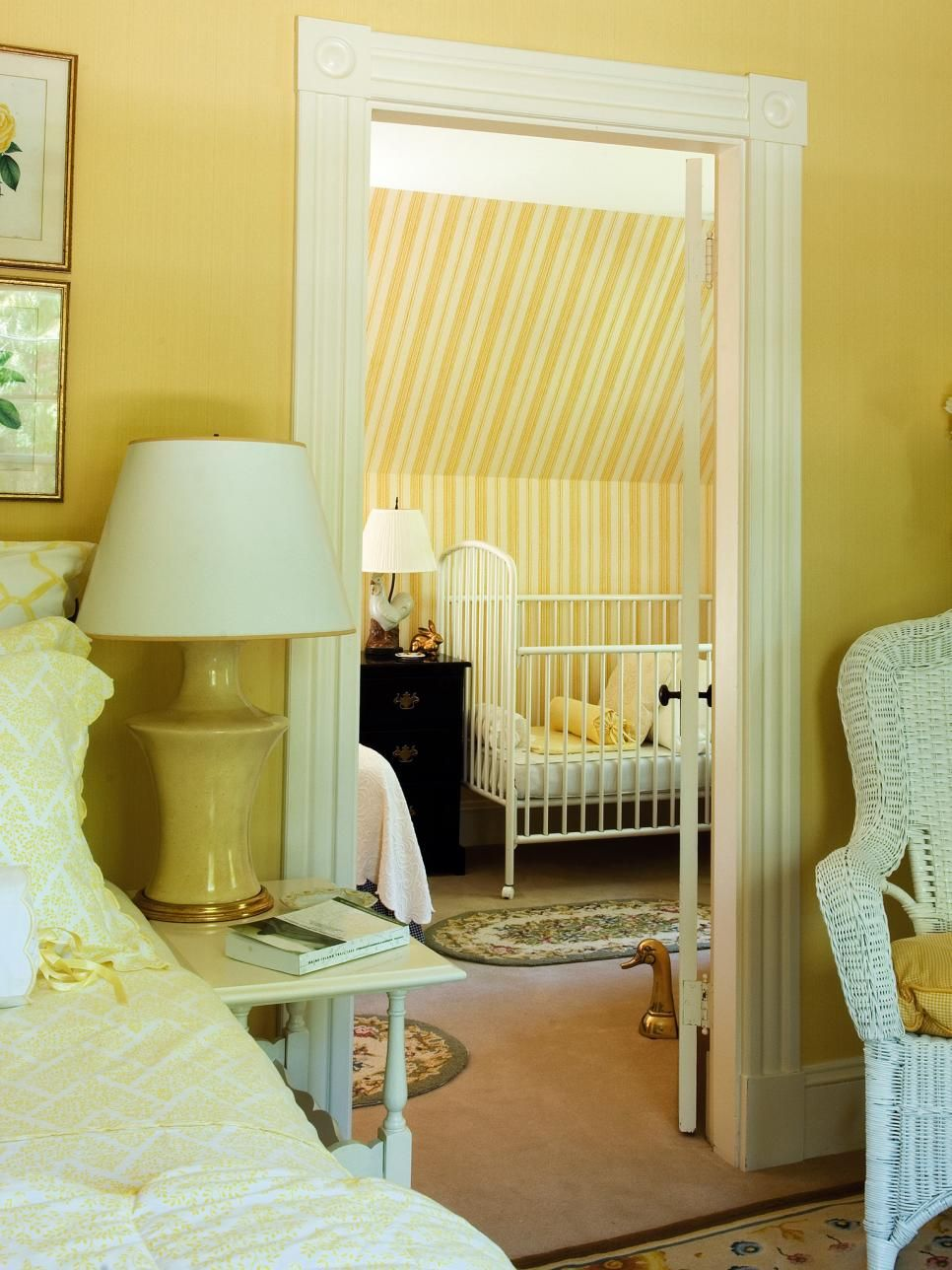 This nursery wing adjoining the master bedroom creates the