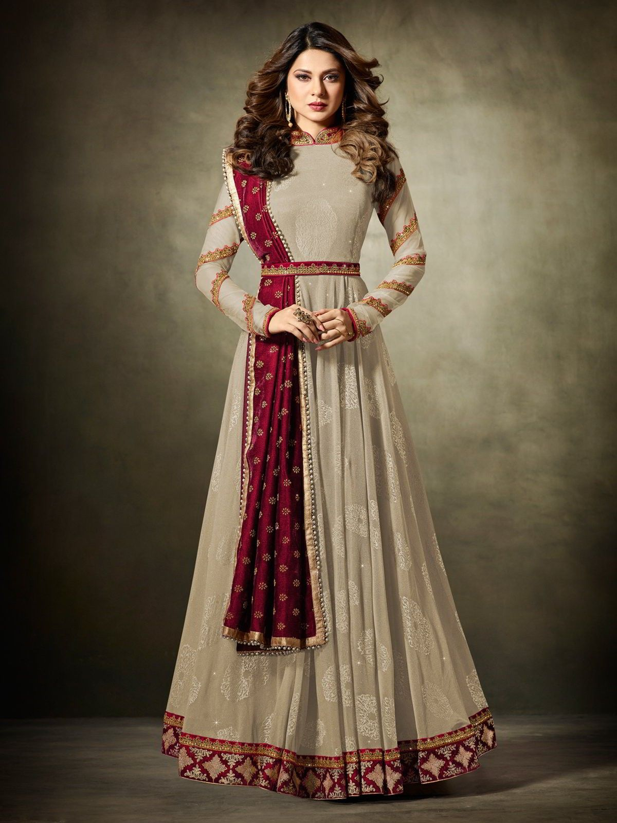 c4e19bc5a1c9 Bollywood diva jennifer winget cream anarkali suit online which is crafted  from net and micro velet fabric with exclusive beadwork