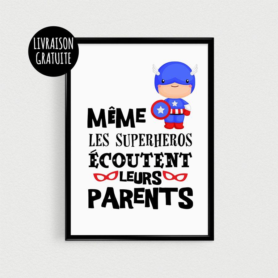 poster super h ro pour enfant m me les superh ros coutent leurs parents affiche citation de. Black Bedroom Furniture Sets. Home Design Ideas