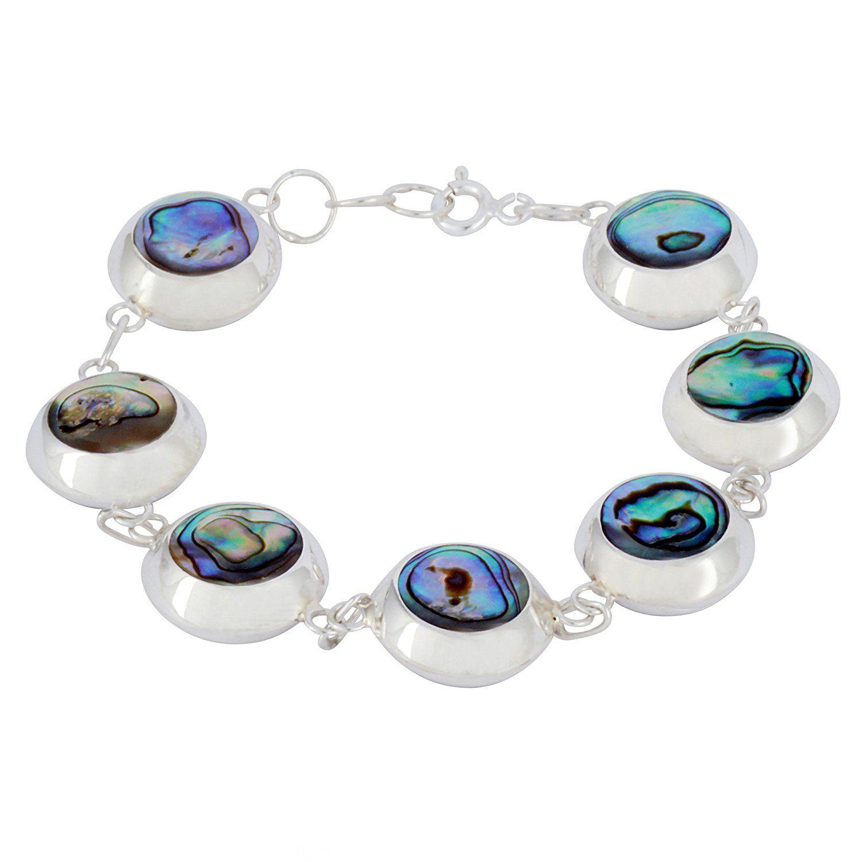 Abalone Paua Shell & 925 Sterling Silver Oval Bracelet bSVocy