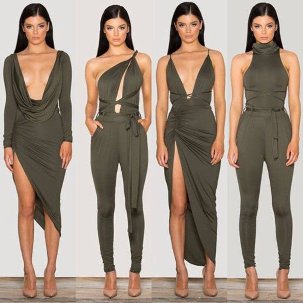 b6e432a81d1 dress green olive green romper green romper olive romper olive dress green  dress nude heels heels nude sleek sleeves cute sexy sexy dress tight  bodycon ...