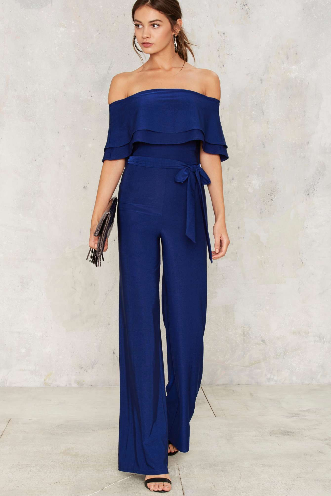 29f8eb6a89 Till You Get Enough Blue Off-the-Shoulder Jumpsuit